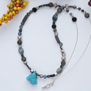 Blue agate semi precious stone dark style beaded necklace/Nickel free/Tibetan silver,river shell,onyx/Blue,black,white,silver