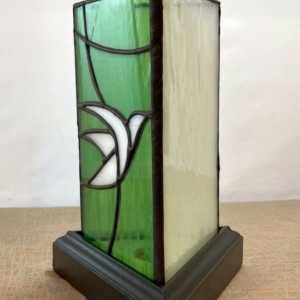 White Dove 3 Sided Stained Glass Lamp*