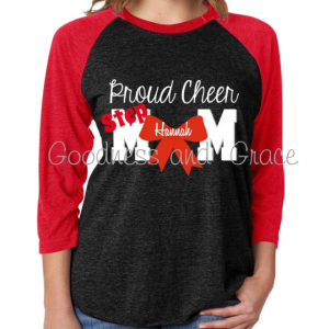 Proud Cheer Mom or Step Mom Tee - Cheer T-Shirt