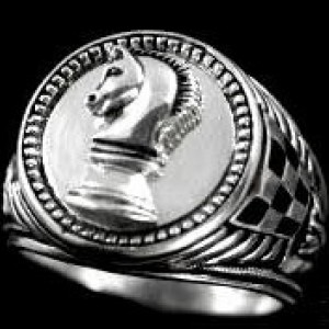 Knights Chess piece sterling silver signet ring