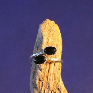 Sterling Silver and Black Onyx Adjustable Ring