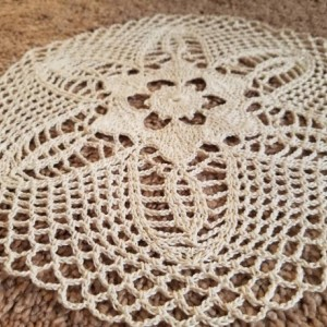 Lace doily.  Original design. Handmade tan doily