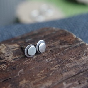Small Sterling Silver studs - Post earrings - Double abstract mod circles - Small round earrings (size SM)