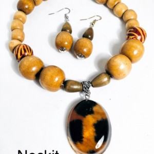 Wooden Bead Animal Print Themed Statement Necklace.