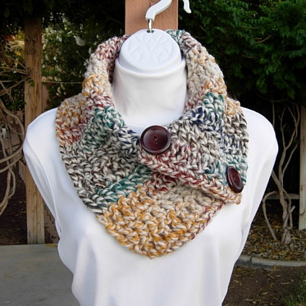 Colorful Large NECK WARMER SCARF Buttoned Cowl Natural Beige Green Blue Mustard Striped, Soft Wool Blend, Thick Winter Crochet Knit, Ready to Ship in 2 Days