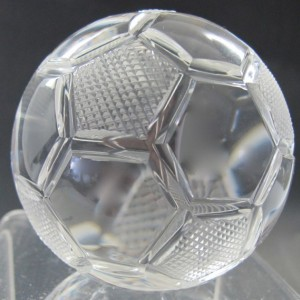 Hand cut glass soccer ball award