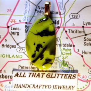 Green and Black Dichroic Fused Glass Pendant with a Sterling Silver Finding.