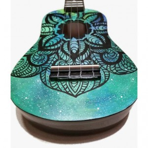 Soprano Galaxy Mandala Ukulele, Hand Painted Ukulele, Decorated Ukulele, Galaxy Paint, ukulele instrument, concert, tenor, baritone, guitar
