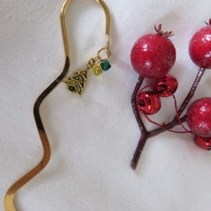 Golden bookmark with Christmas tree