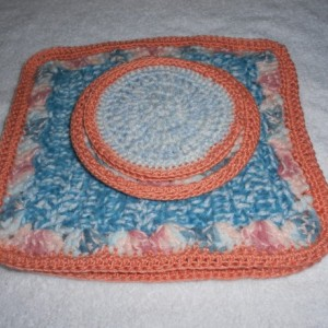 "A  Lovely Coral and Ocean Blue crocheted Placemat and coaster set""Ocean View for Two"", Blue, white and coral crocheted placemat  set"