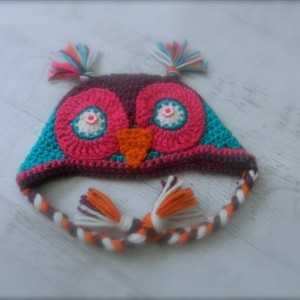 Custom-made Crocheted Boho Owl Hat for Infants through Adults - 100% Handmade in the USA