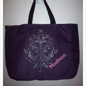 Anchor Rhinestone Tote Bag with Pockets