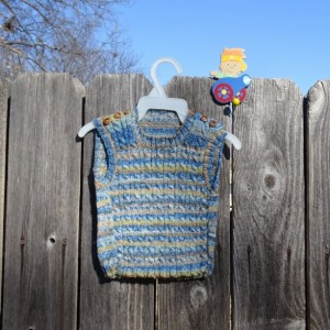 Hand Knitted Cable Vest, Wool Vest for Baby 6-12 Months,  Multicolored Knit for Boy, Blue Sleeveless Vest, Ready to Ship, All Handmade