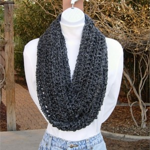 INFINITY SCARF Loop Cowl, Long Black Dark, Light Grey Gray Tweed Multicolor, Extra Soft Warm Crochet Knit, Winter..Ready to Ship in 3 Days