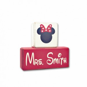 Minnie mouse teacher gift personalized custom stacking blocks primitive rustic decor mickey mouse