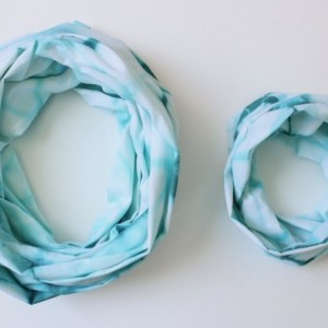 Mommy & Me Infinity Scarf Set in Teal Diamond - Hand Dyed Cotton - Ready to Ship