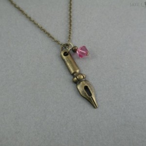 Bronze Pen Nib Crystal Charm Necklace - Writer Gift - Author Gift