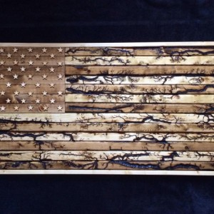 Hand crafted wood American flag with fractal burns