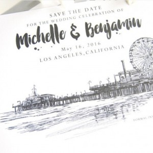 Santa Monica Pier Skyline Wedding Save the Date Cards (set of 25 cards)