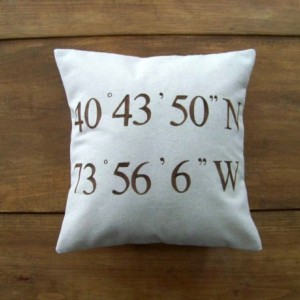 Personalized Coordinates Pillow Cover - size 12x12
