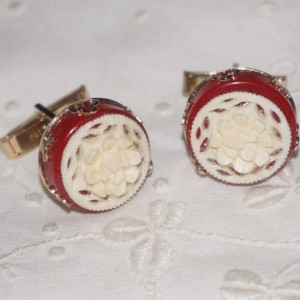Vintage Carved Coral Rose Flower & Red Bakelite Cufflinks Cuff Links