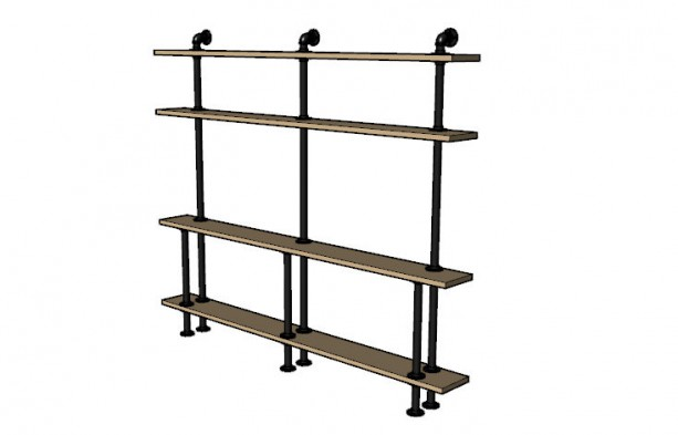 "Black Pipe Shelving ""DIY"" Kit - 72"" tall x 72"" wide x 8"" deep"