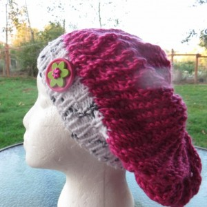 Beanie Slouch Hat Hand Knitted with Bamboo and Silk - RALEIGH HILLS by Anja
