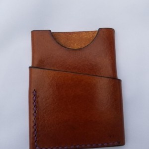 Leather Card Wallet Light brown with purple thread