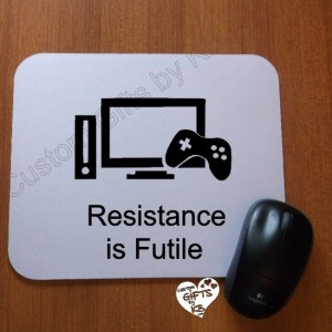 Gaming Resistance is Futile Mouse Pad, Christmas Gift, Anniversary, Birthday Gift, Star Trek, Spock, Xbox, Gaming, Gaming gift, PS4, WiiU