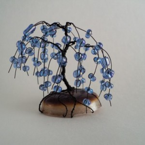 Black Wire and Blue-Purple Glass Bead Bonsai Tree