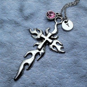 Personalized Flame Cross Necklace