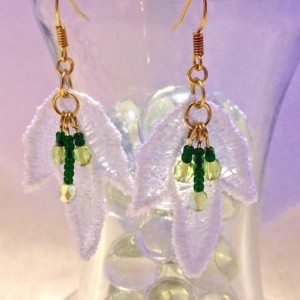 Lace Leaf and Beaded Earrings