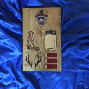 Hand Burned Country LOVE Pattern Wall Mounted Bottle Opener