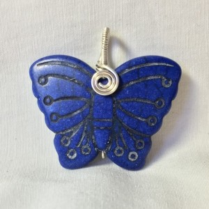 Carved Butterfly Pendant - Blue