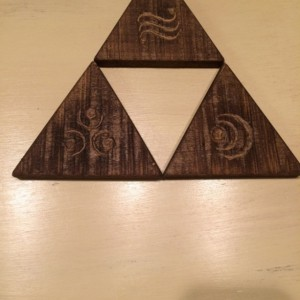 Triforce Wooden Coasters, Handmade wooden coasters