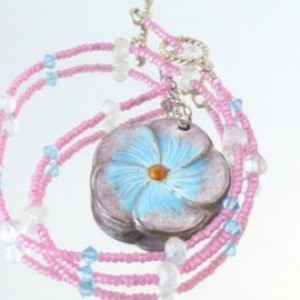 Pastel Pink and Blue Elegant Flower Pendant Gemstone Necklace