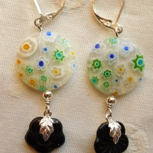 Bohemian earrings with multicolor Millefiori Coin Glass Beads, and black flower glass bead with a leaf connector .#E00289