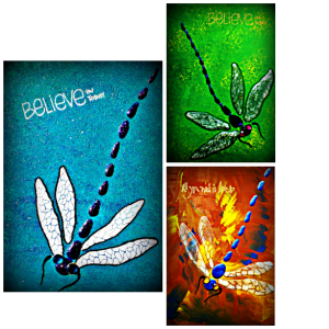 Dragonflies designed on wood