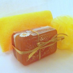 Natural Soaps ~ Honey & Olive Oil Soaps with Bath Pouf & Gift Box