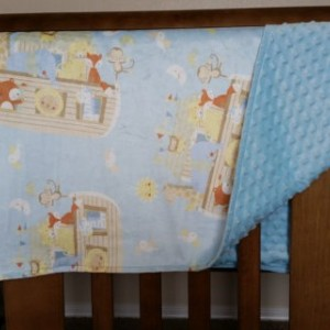 Baby blanket, baby blue noah's ark with dot material
