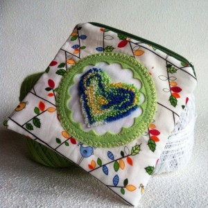 Little birdy love zipper pouch with needle punch embroidery