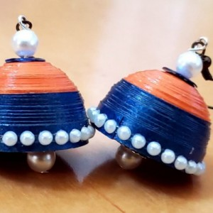 Orange and Blue Dome Earrings