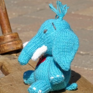 Elephant, Knitted Toy,  Stuffed Animal , Blue Toy, Baby Shower Gift, Toy with Heart