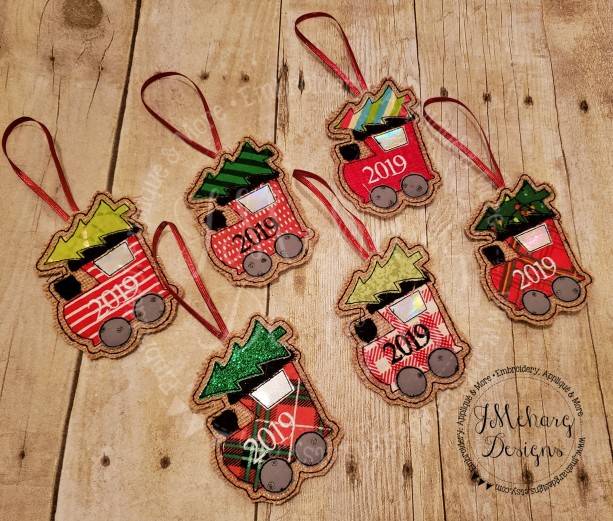 Buy 3 Get 1 Free Custom Embroidered Christmas Train Ornament