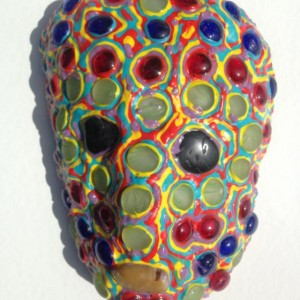 Mask/Wall Art Sculpture by A. Saldivar - One of a kind, Yellow, Blue, Red