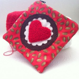 Coffee love zipper pouch with needle punch embroidery