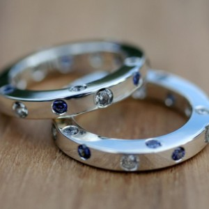 """C.Z. with Sapphire Ruby or Emerald """"Peek A Boo"""" / Thick and Unique SILVER ETERNITY BAND"""