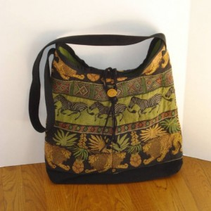 BOHO Over the Shoulder/Crossbody TOTE BAG in Upcycled jeans and African themed fabric with button closure