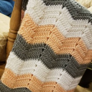 Chevron Stripe Ripple Baby Afghan Grey, White, and Peach