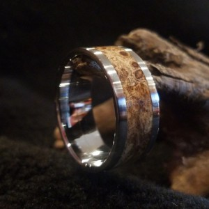 size13 3/4 Box elder burl ring, stainless steel core, 10mm band width